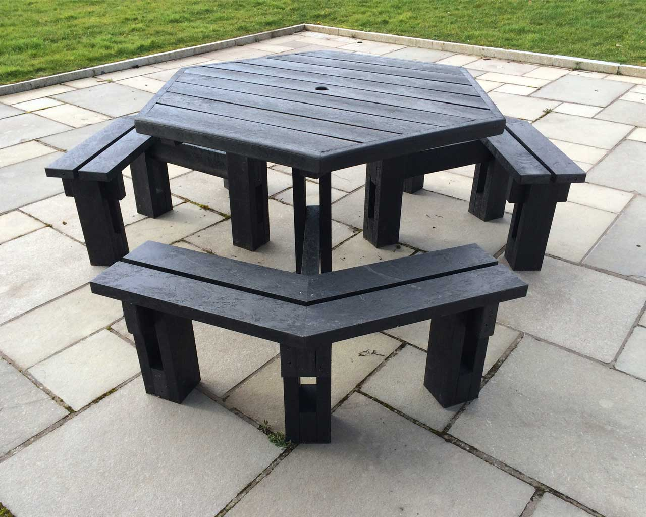 6 sided picnic table without back