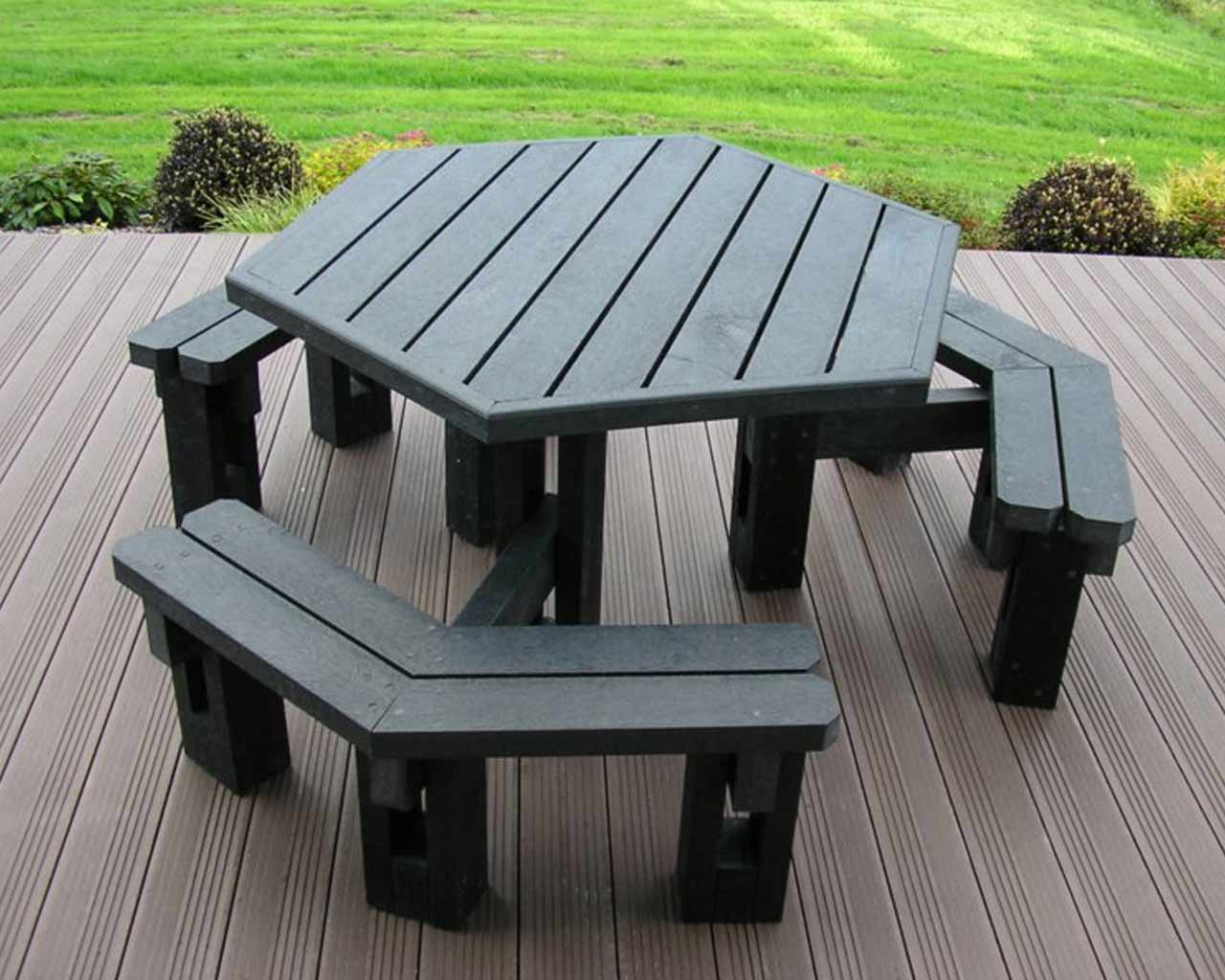 Sidedpicnictablewithoutback Murrays Recycled Plastic - 6 sided picnic table