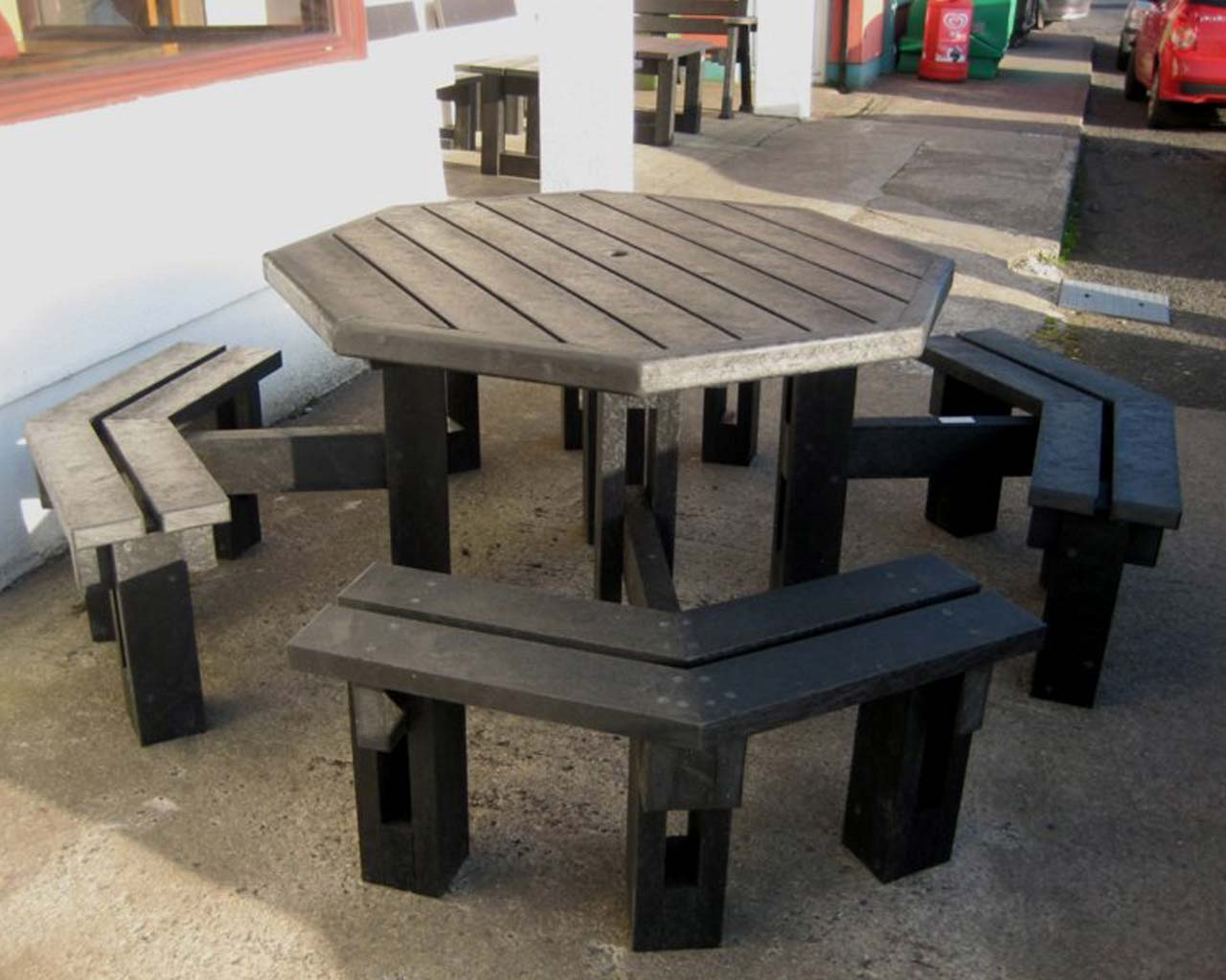 8 seater octagonal table without back