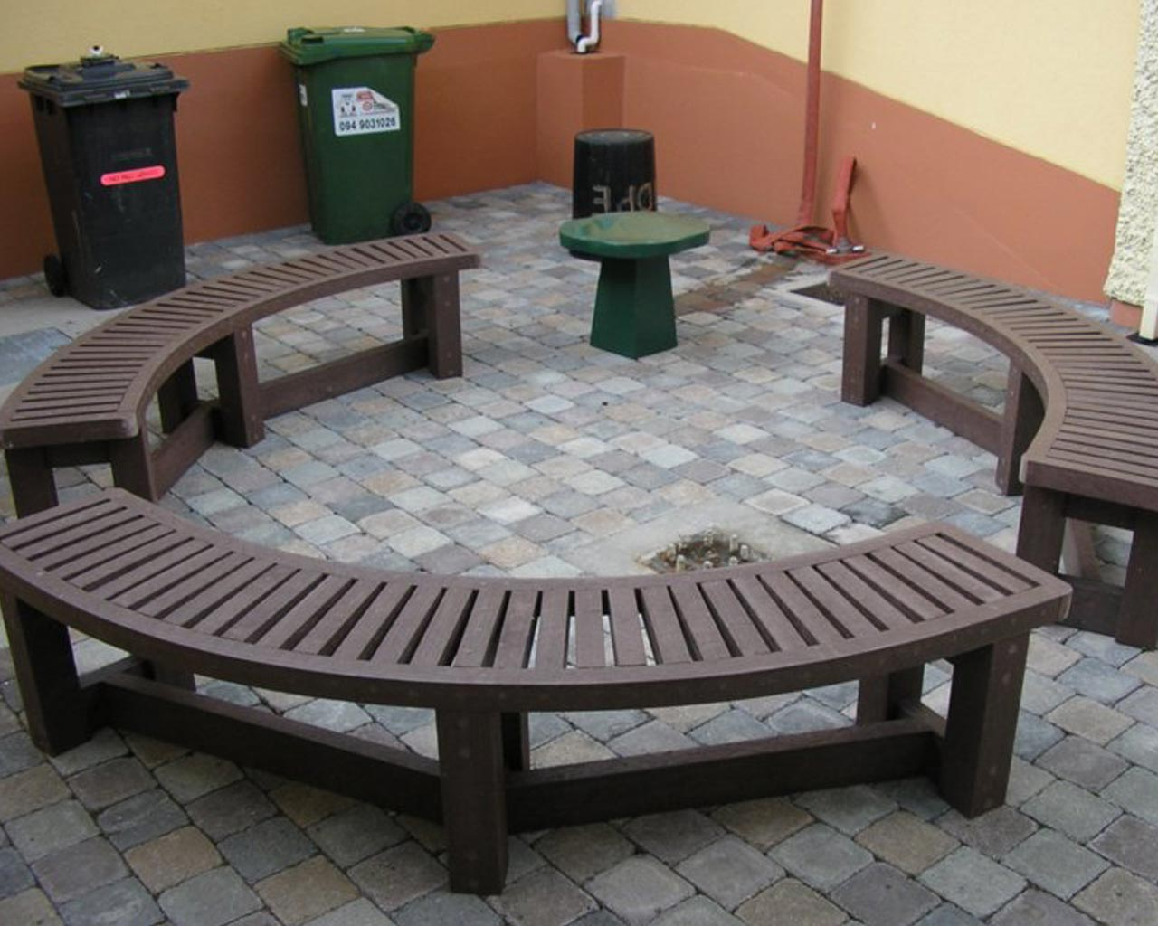 Perfect Semicircular Bench Without Back