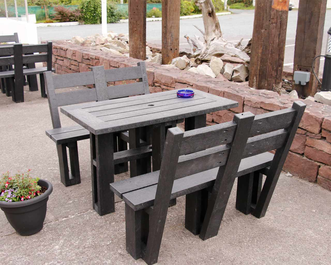 4 sided picnic table with back