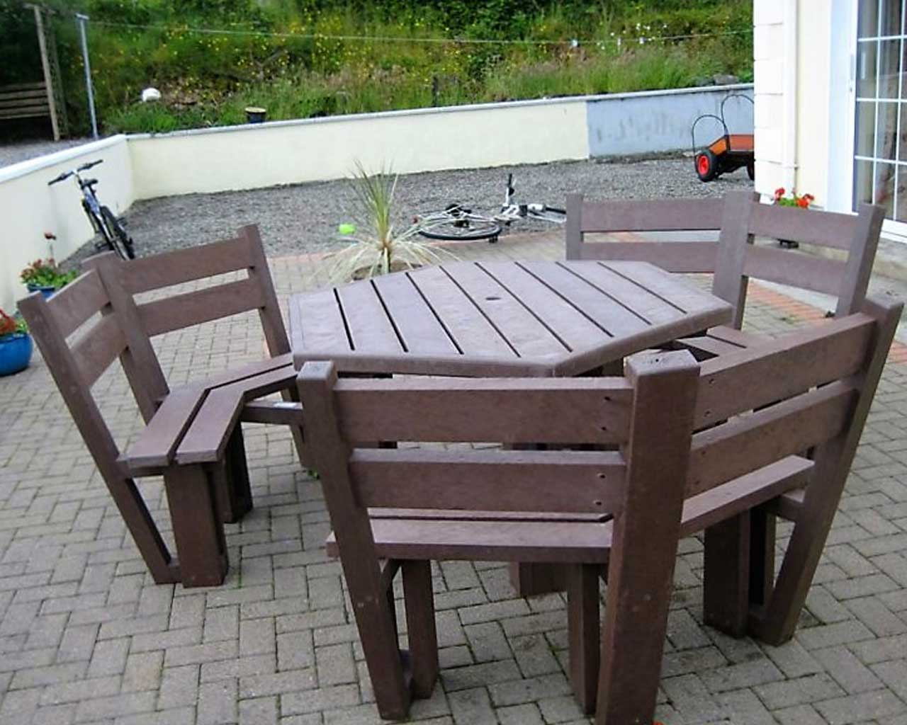 6 sided picnic table with back